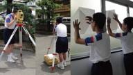 測定作業を体験している中学生の写真